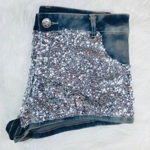 Shiny Silver Sequin Stretch Jean Shorts